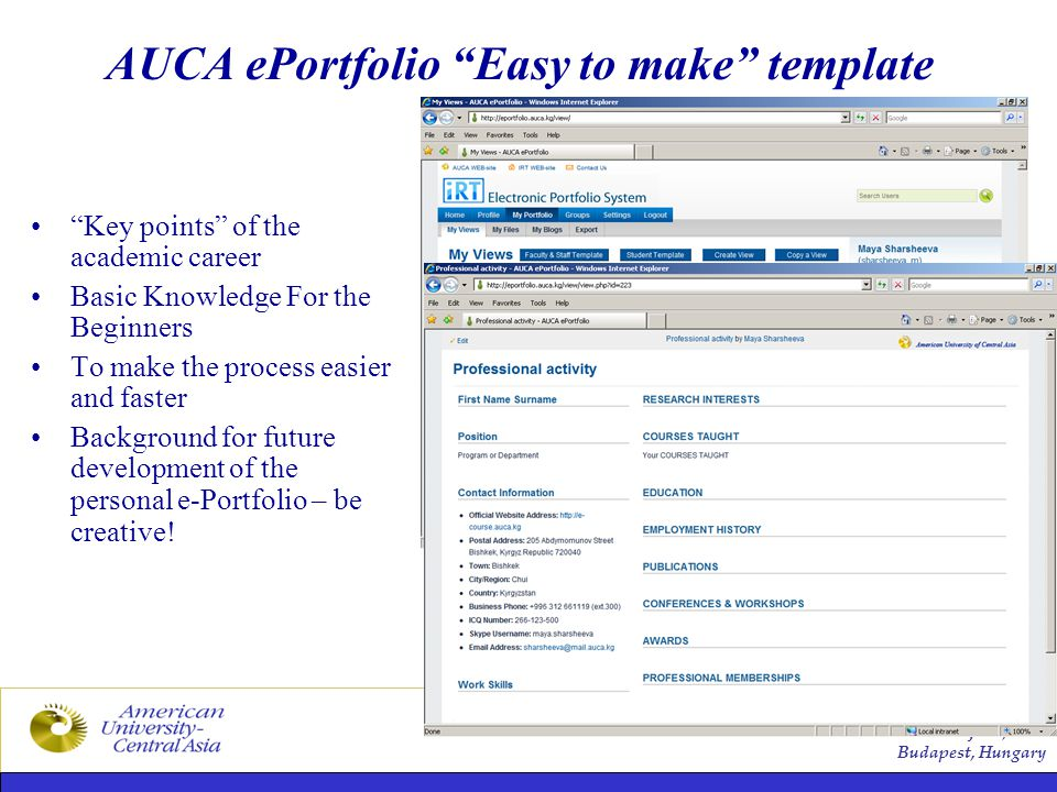 AUCA ePortfolio Easy to make template Key points of the academic career Basic Knowledge For the Beginners To make the process easier and faster Background for future development of the personal e-Portfolio – be creative.