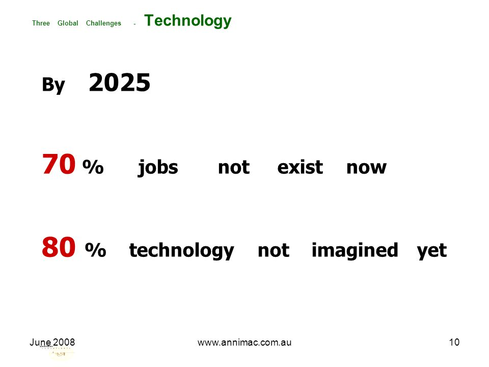 June 2008www.annimac.com.au10 Three Global Challenges - Technology By 2025 70 % jobs not exist now 80 % technology not imagined yet