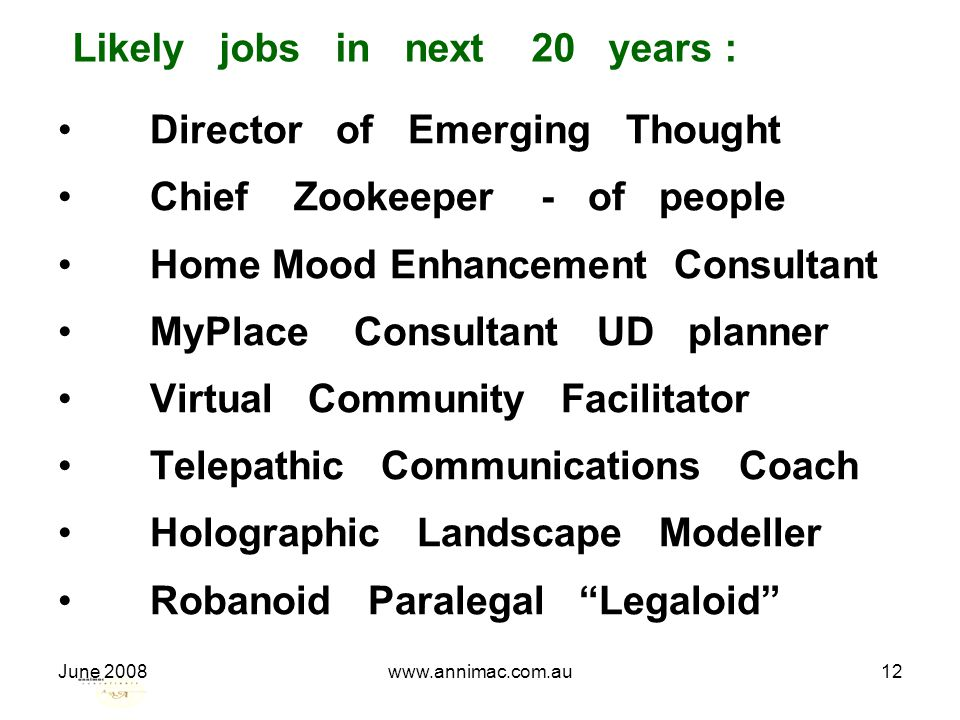 June 2008www.annimac.com.au12 Likely jobs in next 20 years : Director of Emerging Thought Chief Zookeeper - of people Home Mood Enhancement Consultant