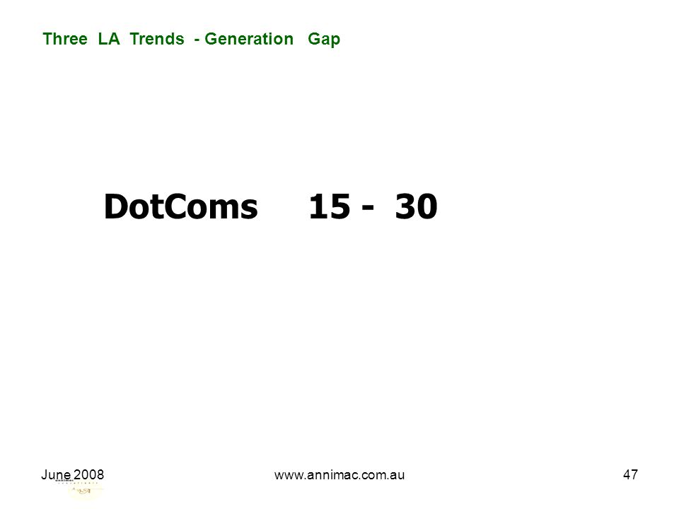 June 2008www.annimac.com.au47 Three LA Trends - Generation Gap DotComs 15 - 30