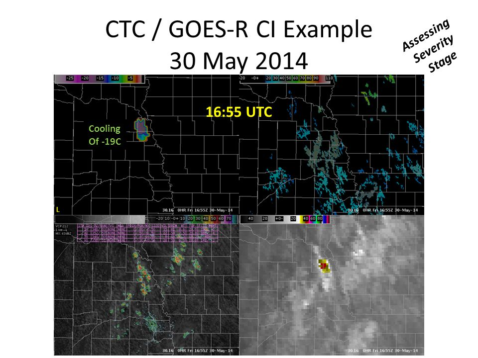 CTC / GOES-R CI Example 30 May 2014 16:55 UTC Cooling Of -19C Assessing Severity Stage