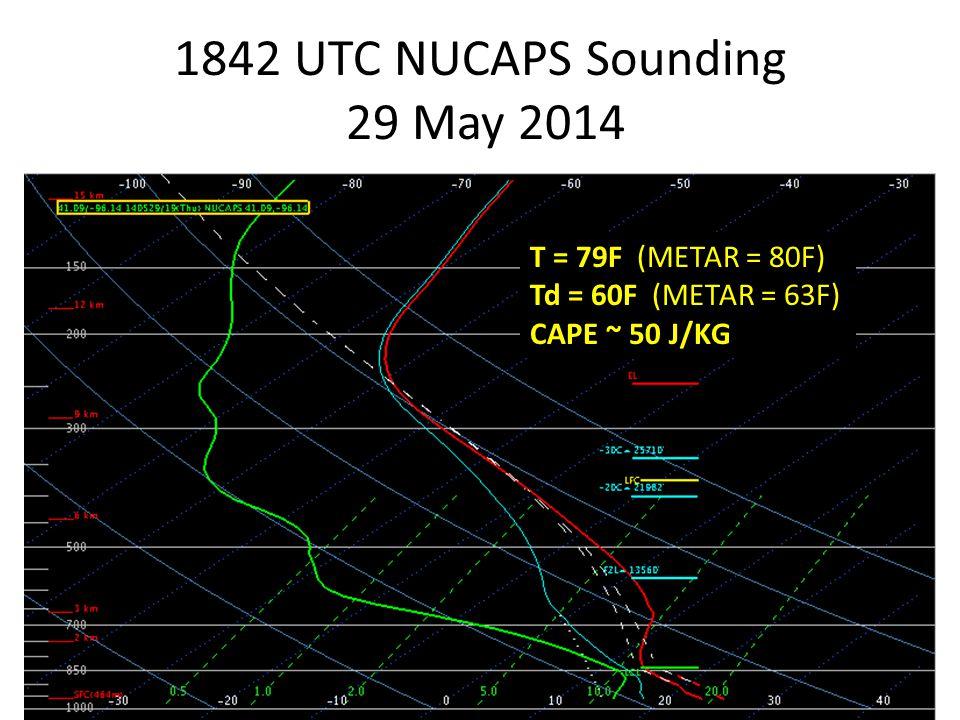 1842 UTC NUCAPS Sounding 29 May 2014 T = 79F (METAR = 80F) Td = 60F (METAR = 63F) CAPE ~ 50 J/KG