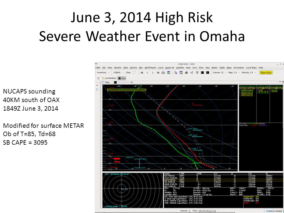 June 3, 2014 High Risk Severe Weather Event in Omaha NUCAPS sounding 40KM south of OAX 1849Z June 3, 2014 Modified for surface METAR Ob of T=85, Td=68 SB CAPE = 3095