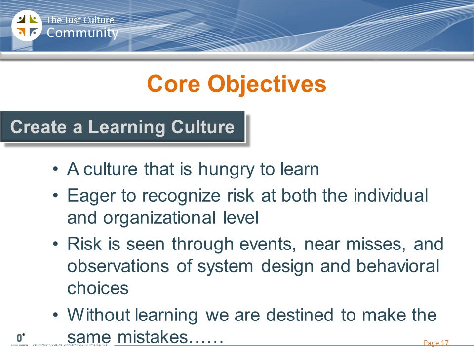 Copyright 2011, Outcome Engineering, LLC. All rights reserved. The Just Culture Community Core Objectives A culture that is hungry to learn Eager to r