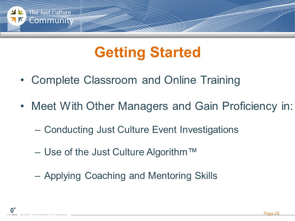 Copyright 2011, Outcome Engineering, LLC. All rights reserved. The Just Culture Community Getting Started Complete Classroom and Online Training Meet