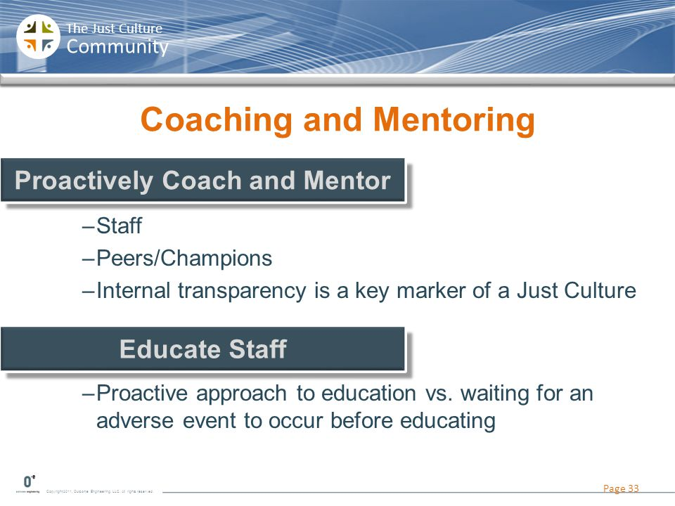 Copyright 2011, Outcome Engineering, LLC. All rights reserved. The Just Culture Community Coaching and Mentoring –Staff –Peers/Champions –Internal tra