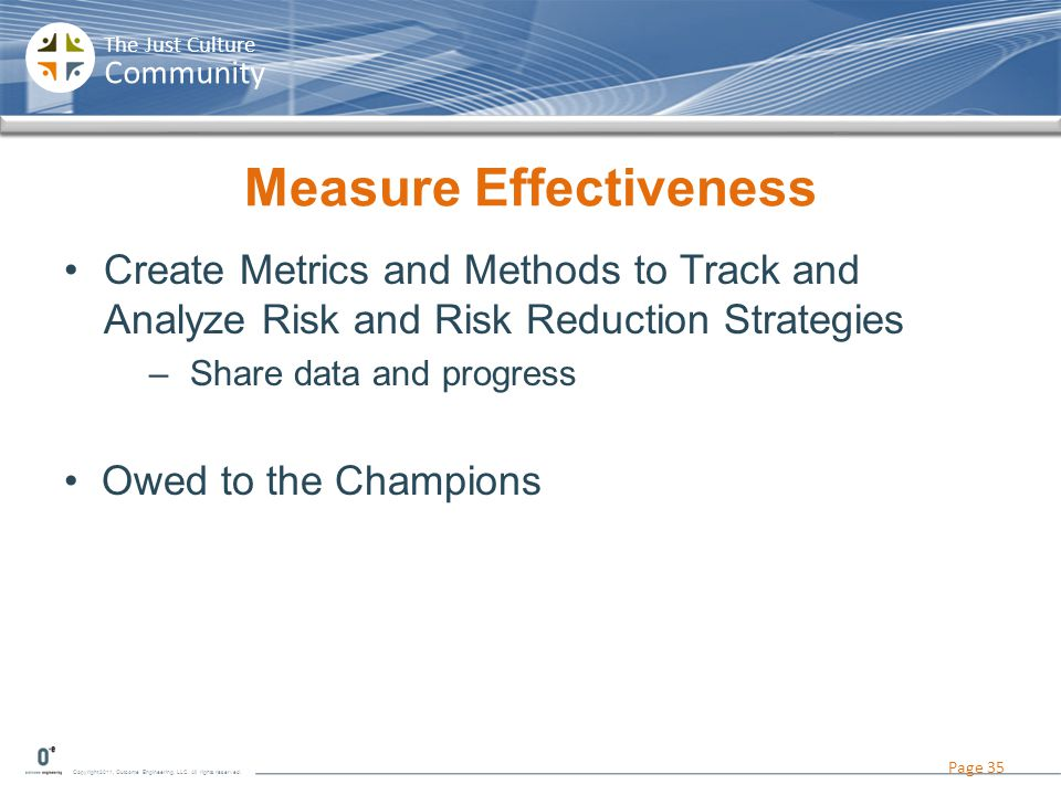 Copyright 2011, Outcome Engineering, LLC. All rights reserved. The Just Culture Community Measure Effectiveness Create Metrics and Methods to Track an