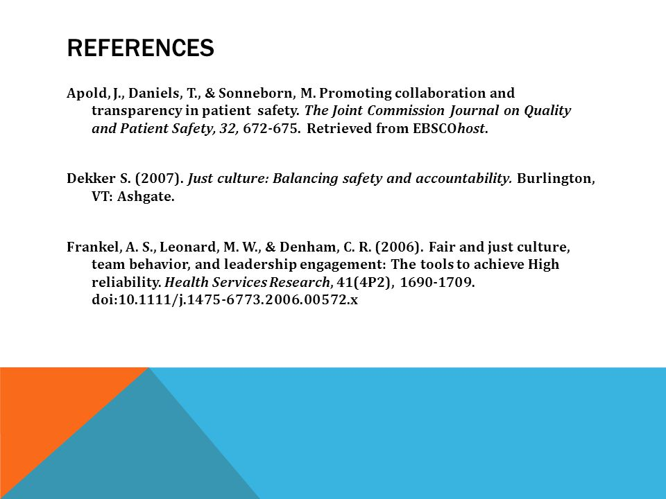 REFERENCES Apold, J., Daniels, T., & Sonneborn, M.