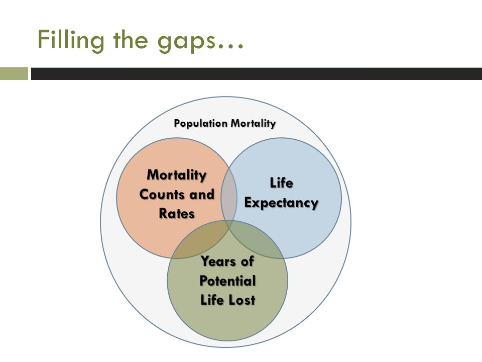 Filling the gaps… Mortality Counts and Rates Life Expectancy Years of Potential Life Lost Population Mortality