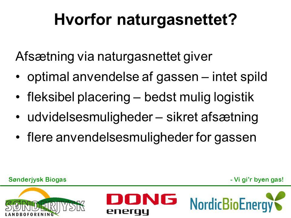 Sønderjysk Biogas- Vi gi'r byen gas! Hvorfor naturgasnettet? Afsætning via naturgasnettet giver optimal anvendelse af gassen – intet spild fleksibel p