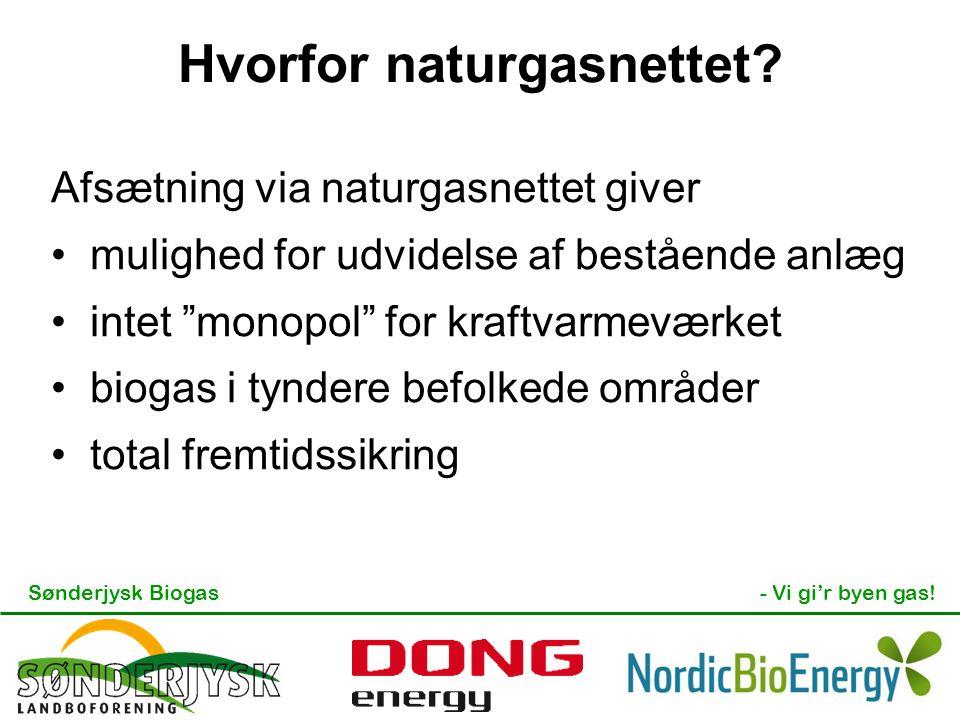 """Sønderjysk Biogas- Vi gi'r byen gas! Hvorfor naturgasnettet? Afsætning via naturgasnettet giver mulighed for udvidelse af bestående anlæg intet """"monop"""