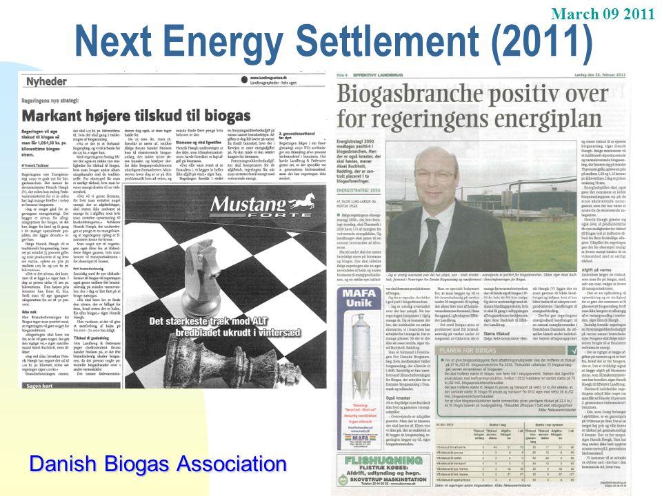 March 09 2011 Next Energy Settlement (2011) Danish Biogas Association