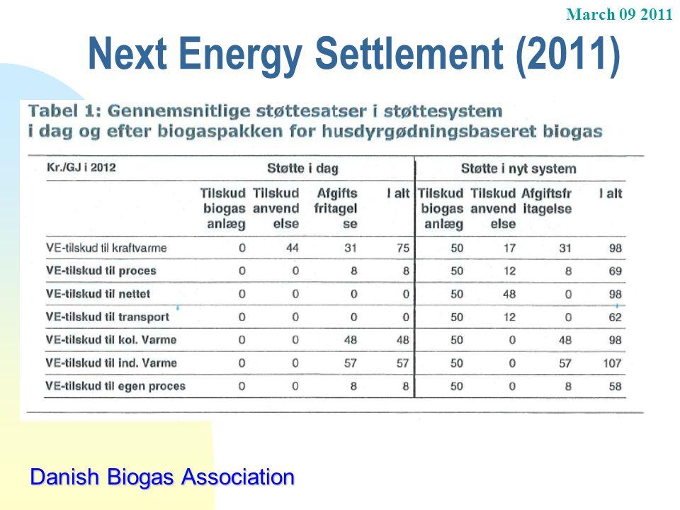 March 09 2011 Danish Biogas Association Next Energy Settlement (2011)