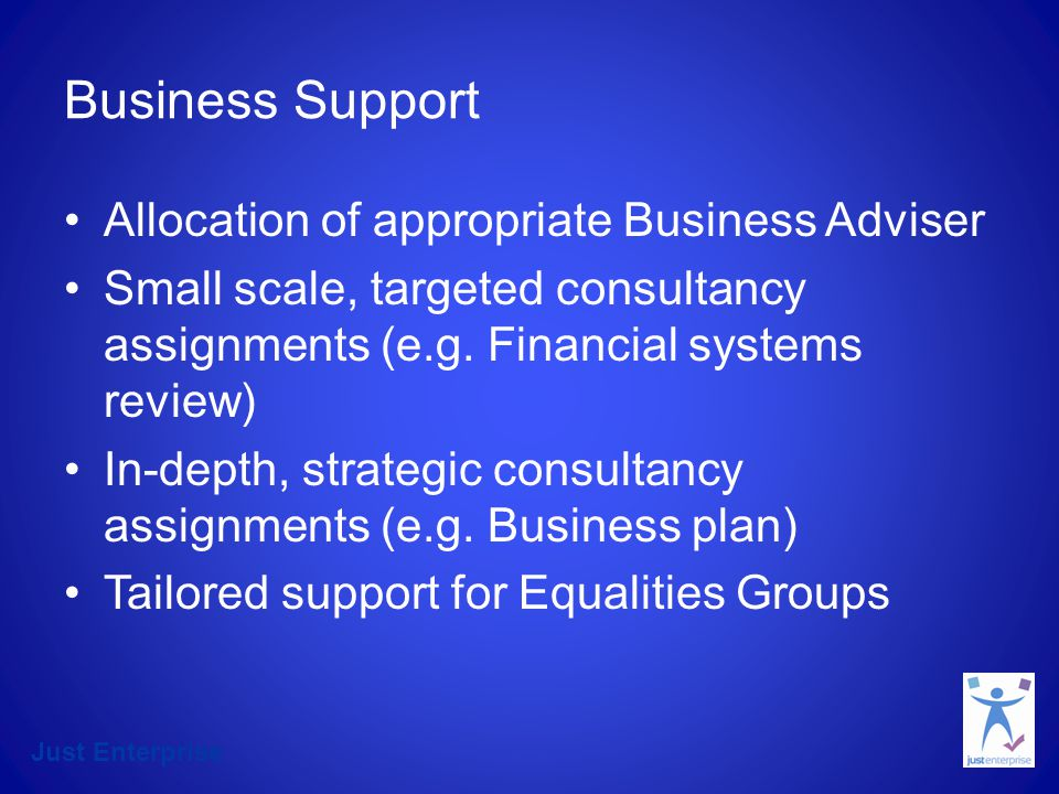 Just Enterprise Business Support Allocation of appropriate Business Adviser Small scale, targeted consultancy assignments (e.g. Financial systems revi