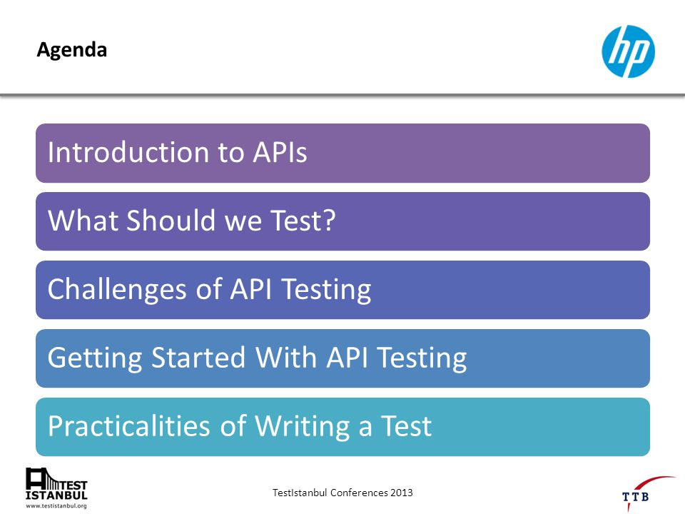 TestIstanbul Conferences 2013 Agenda Introduction to APIsWhat Should we Test Challenges of API TestingGetting Started With API TestingPracticalities of Writing a Test