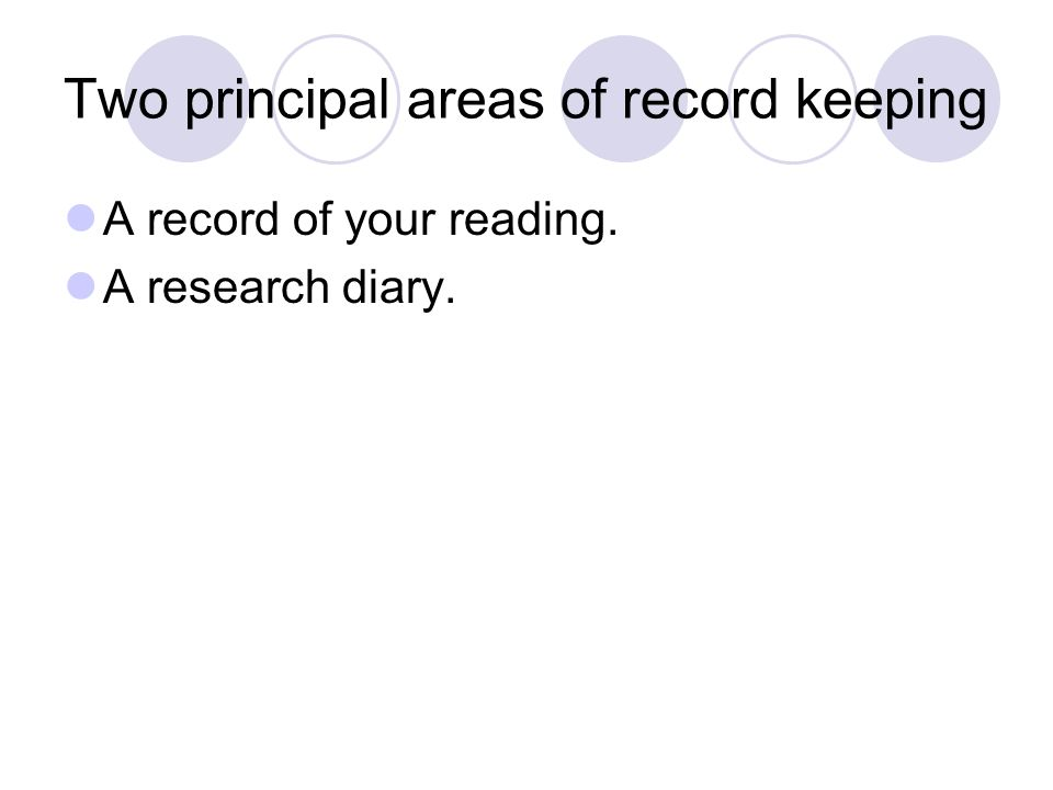 A record of your reading. A research diary. Two principal areas of record keeping