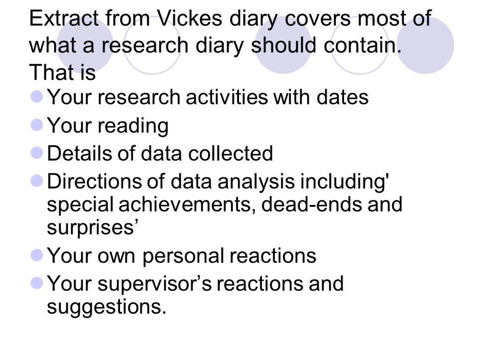 Extract from Vickes diary covers most of what a research diary should contain.