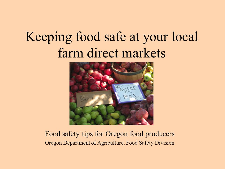 Preparing for market Clean food Clean tools Cleaning food contact surfaces Sanitizers