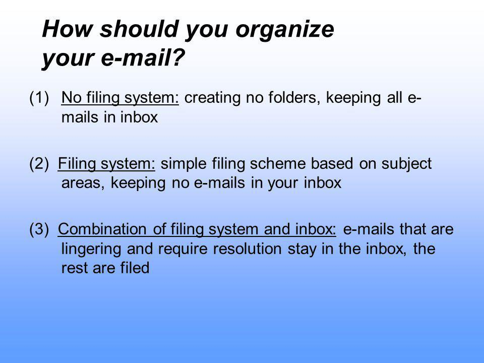 How should you organize your e-mail.