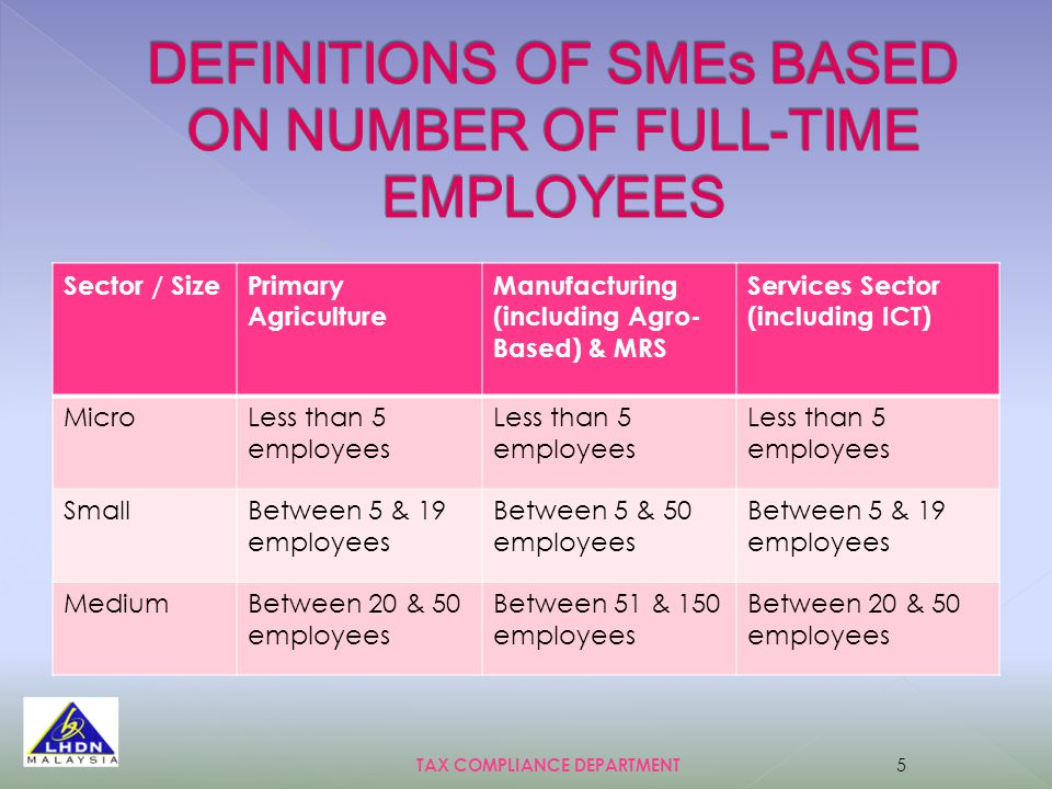 Sector / SizePrimary Agriculture Manufacturing (including Agro- Based) & MRS Services Sector (including ICT) MicroLess than 5 employees SmallBetween 5