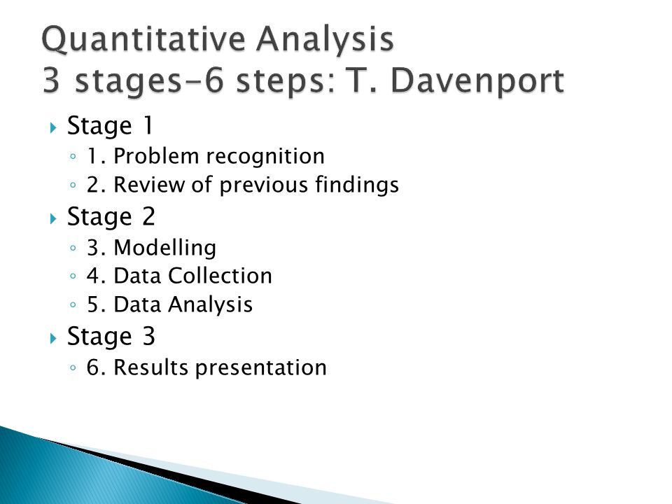  Stage 1 ◦ 1. Problem recognition ◦ 2. Review of previous findings  Stage 2 ◦ 3. Modelling ◦ 4. Data Collection ◦ 5. Data Analysis  Stage 3 ◦ 6. Re