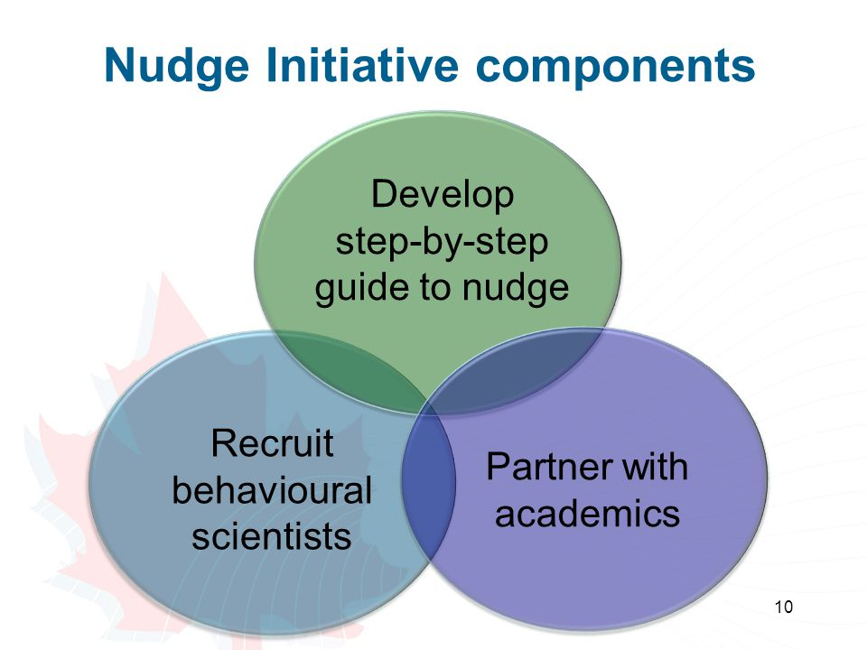 Nudge Initiative components 10 Develop step-by-step guide to nudge Recruit behavioural scientists Partner with academics