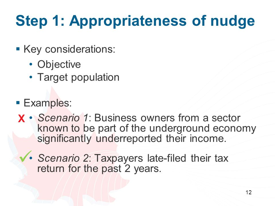 Step 1: Appropriateness of nudge  Key considerations: Objective Target population  Examples: Scenario 1: Business owners from a sector known to be part of the underground economy significantly underreported their income.