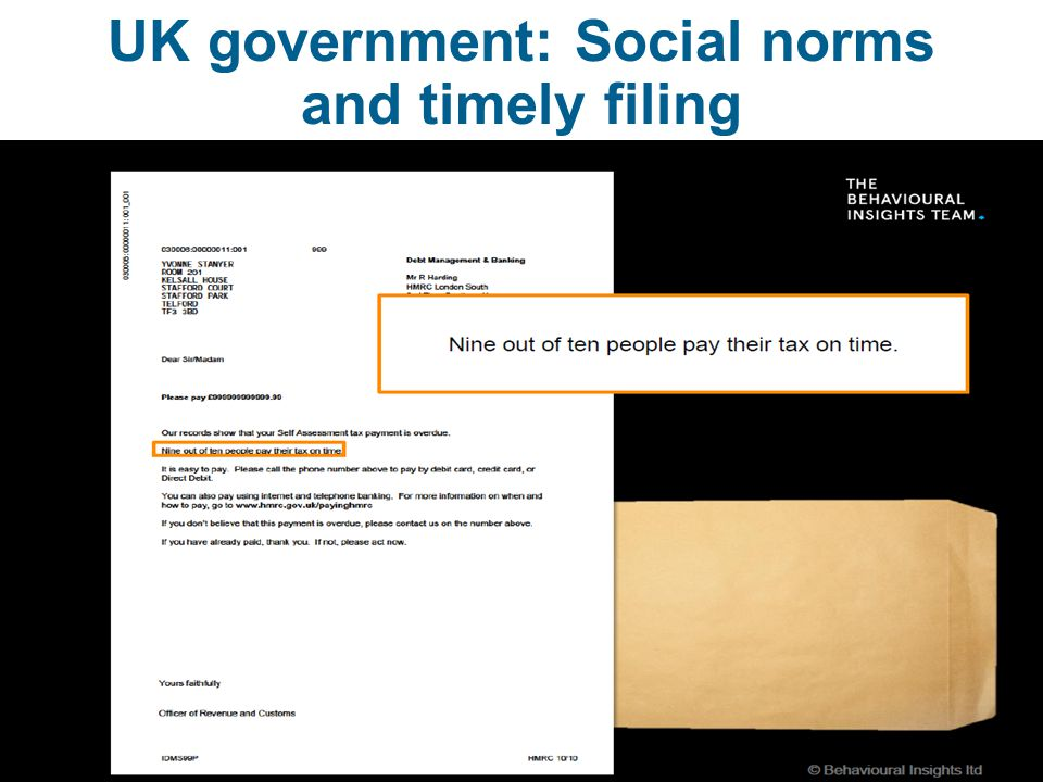 UK government: Social norms and timely filing  UK 5
