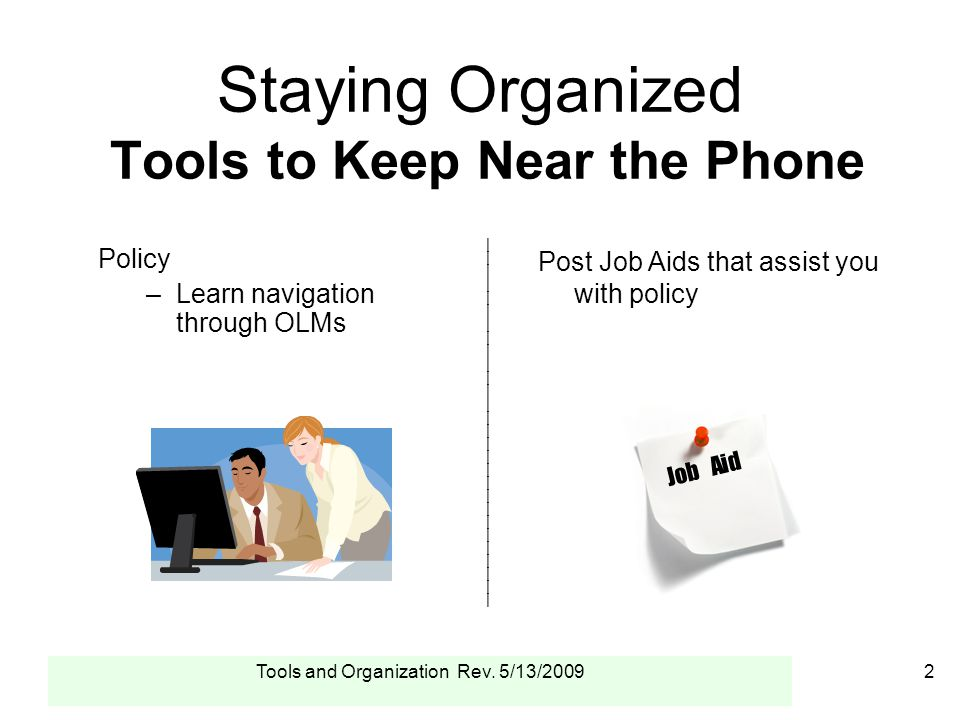 Tools and Organization Rev.