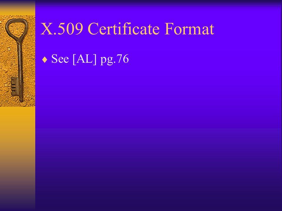 X.509 Certificate Format  See [AL] pg.76