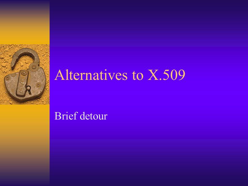 Alternatives to X.509 Brief detour