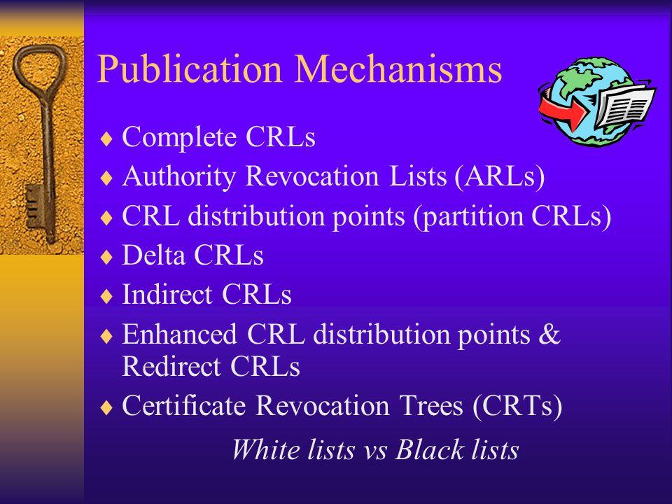 Publication Mechanisms  Complete CRLs  Authority Revocation Lists (ARLs)  CRL distribution points (partition CRLs)  Delta CRLs  Indirect CRLs  Enhanced CRL distribution points & Redirect CRLs  Certificate Revocation Trees (CRTs) White lists vs Black lists