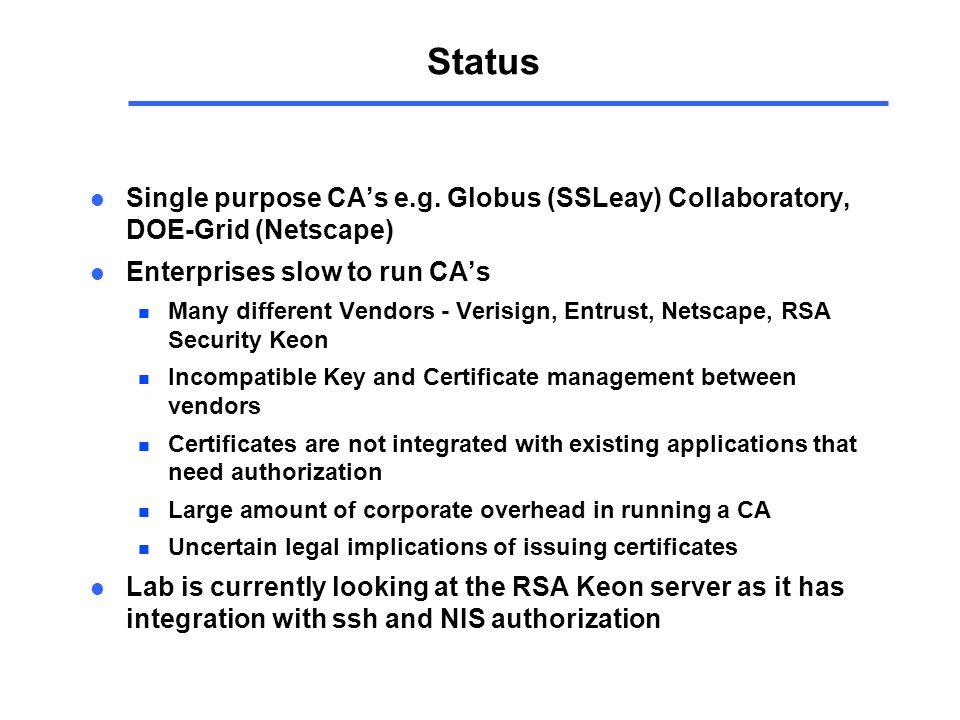 Status l Single purpose CA's e.g.