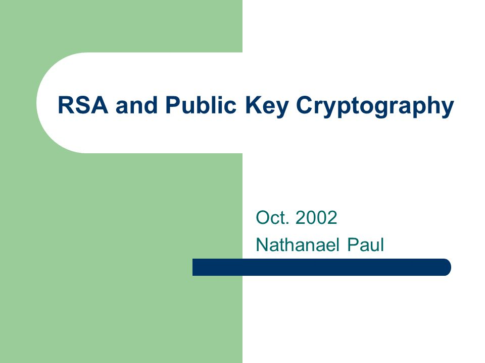RSA and Public Key Cryptography Oct Nathanael Paul