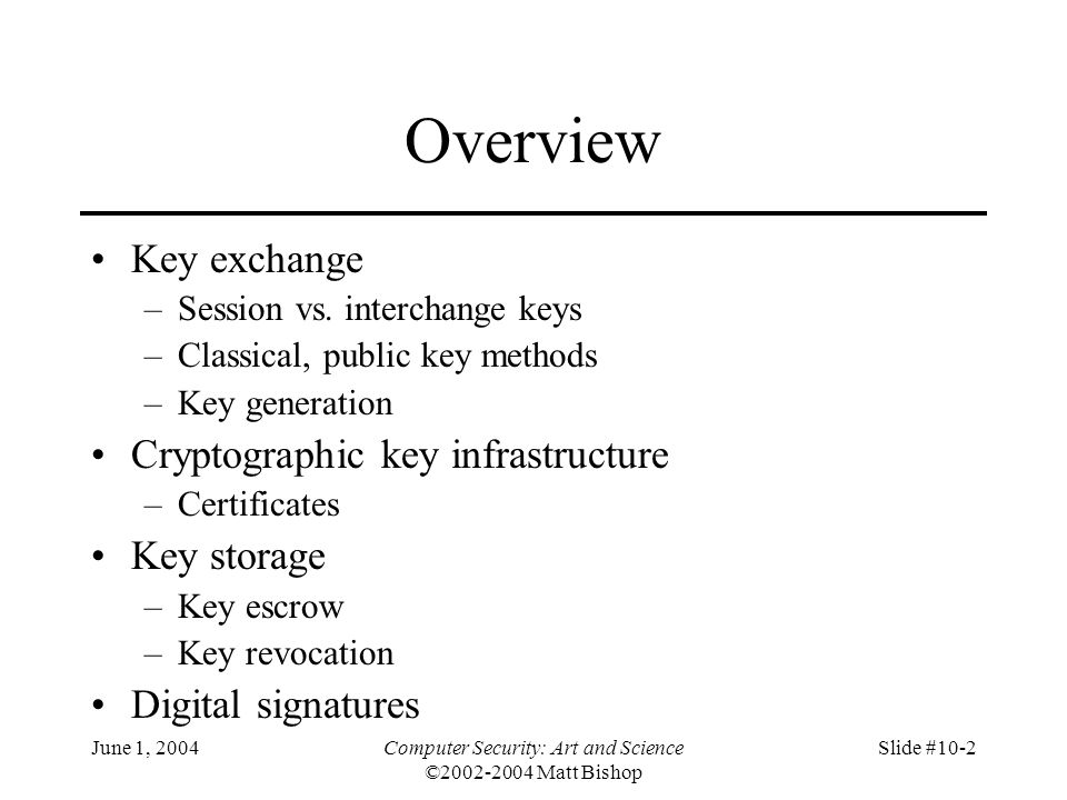 June 1, 2004Computer Security: Art and Science ©2002-2004 Matt Bishop Slide #10-63 Yaksha Security System Key escrow system meeting all 5 criteria Based on RSA, central server –Central server (Yaksha server) generates session key Each user has 2 private keys –Alice's modulus n A, public key e A –First private key d AA known only to Alice –Second private key d AY known only to Yaksha central server –d AA d AY = d A mod  (n A )