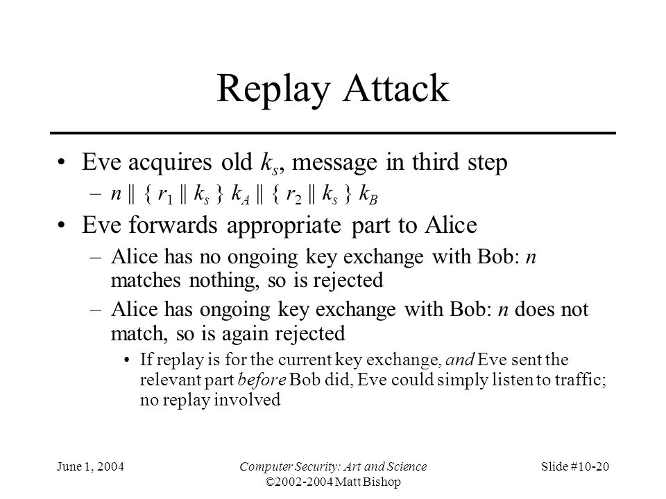 June 1, 2004Computer Security: Art and Science ©2002-2004 Matt Bishop Slide #10-20 Replay Attack Eve acquires old k s, message in third step –n || { r