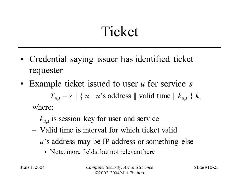 June 1, 2004Computer Security: Art and Science ©2002-2004 Matt Bishop Slide #10-23 Ticket Credential saying issuer has identified ticket requester Exa