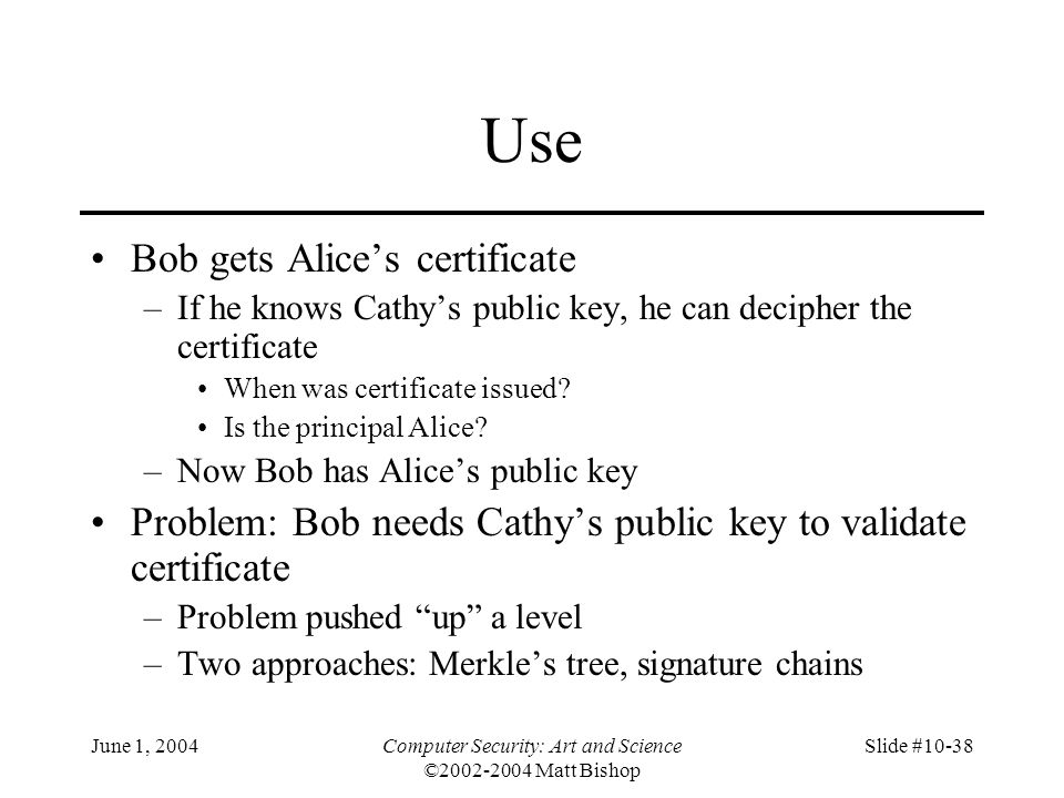 June 1, 2004Computer Security: Art and Science ©2002-2004 Matt Bishop Slide #10-38 Use Bob gets Alice's certificate –If he knows Cathy's public key, h