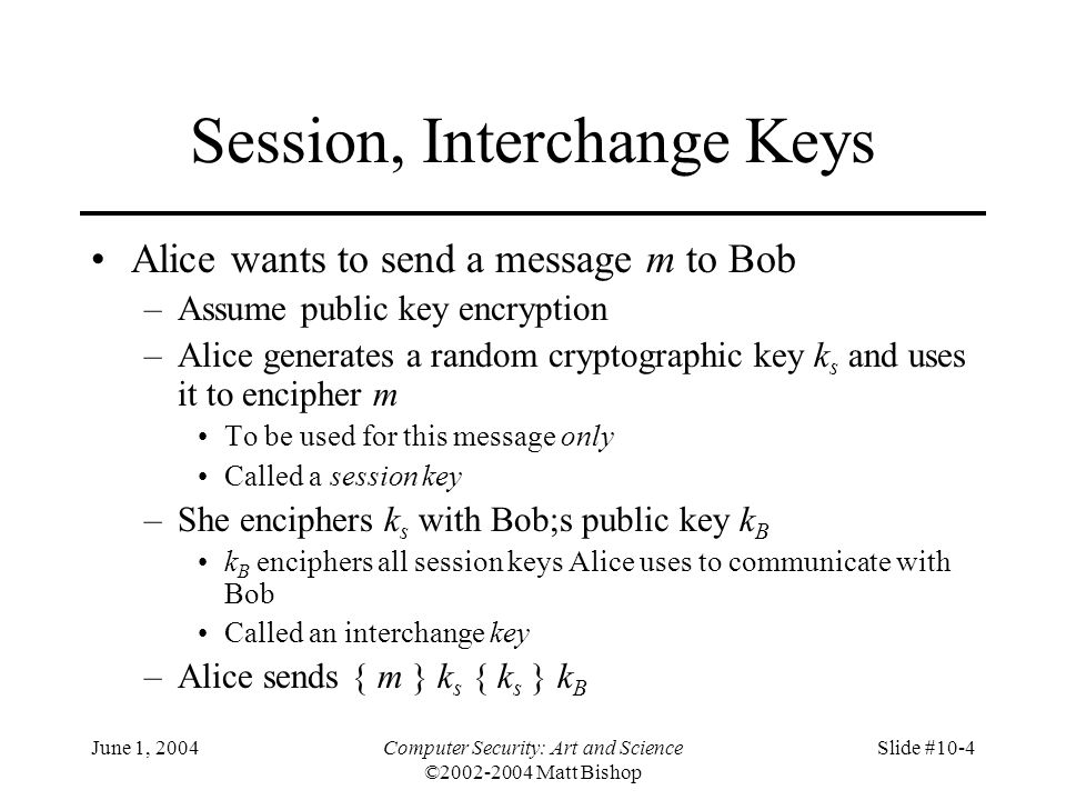 June 1, 2004Computer Security: Art and Science ©2002-2004 Matt Bishop Slide #10-15 Needham-Schroeder with Denning-Sacco Modification AliceCathy Alice    Bob    r 1 AliceCathy { Alice    Bob    r 1    k s    { Alice    T    k s } k B } k A AliceBob { Alice    T    k s } k B AliceBob { r 2 } k s AliceBob { r 2 – 1 } k s