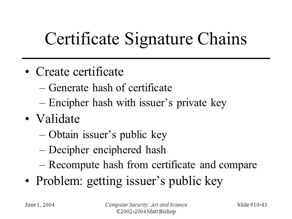 June 1, 2004Computer Security: Art and Science ©2002-2004 Matt Bishop Slide #10-43 Certificate Signature Chains Create certificate –Generate hash of c