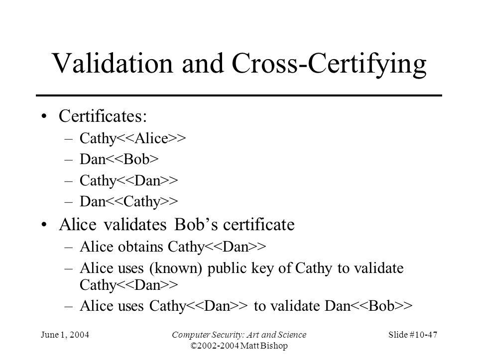 June 1, 2004Computer Security: Art and Science ©2002-2004 Matt Bishop Slide #10-47 Validation and Cross-Certifying Certificates: –Cathy > –Dan –Cathy