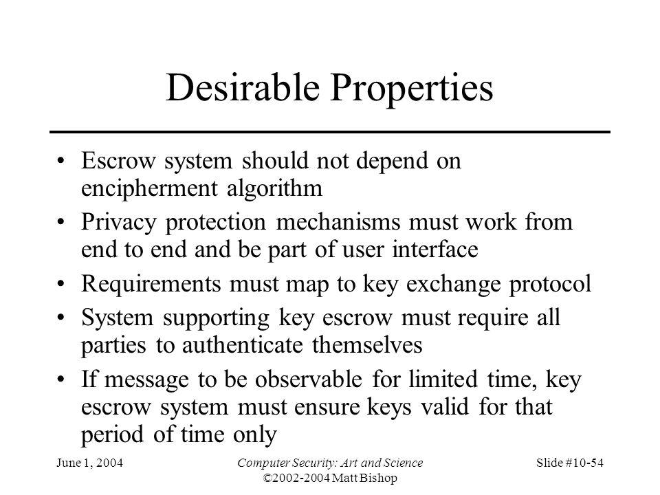 June 1, 2004Computer Security: Art and Science ©2002-2004 Matt Bishop Slide #10-54 Desirable Properties Escrow system should not depend on enciphermen