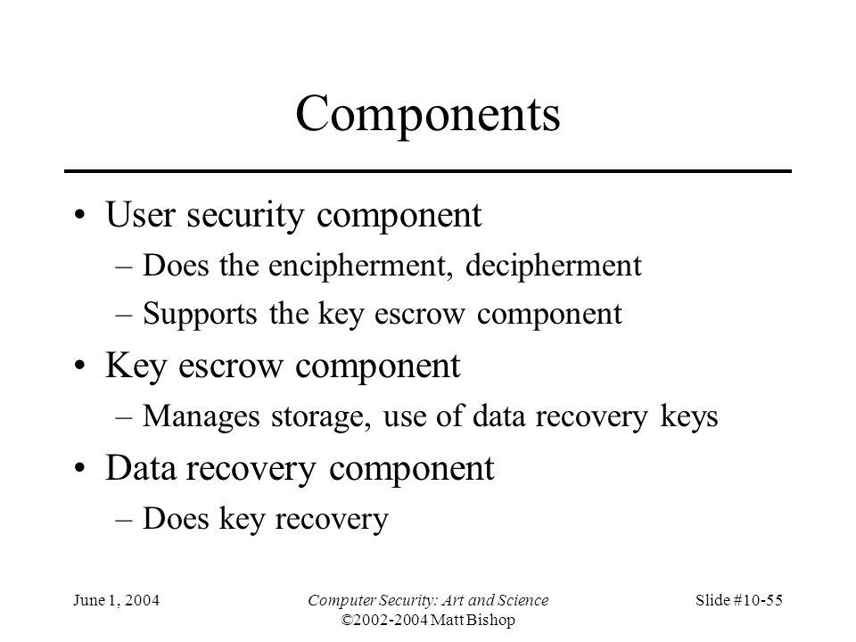 June 1, 2004Computer Security: Art and Science ©2002-2004 Matt Bishop Slide #10-55 Components User security component –Does the encipherment, decipher
