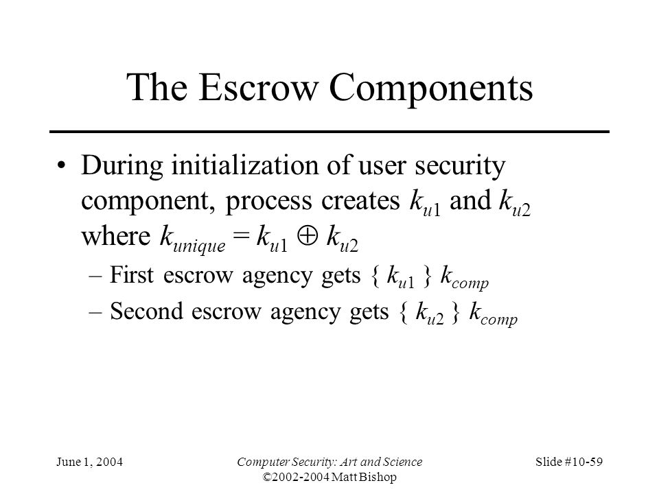 June 1, 2004Computer Security: Art and Science ©2002-2004 Matt Bishop Slide #10-59 The Escrow Components During initialization of user security compon
