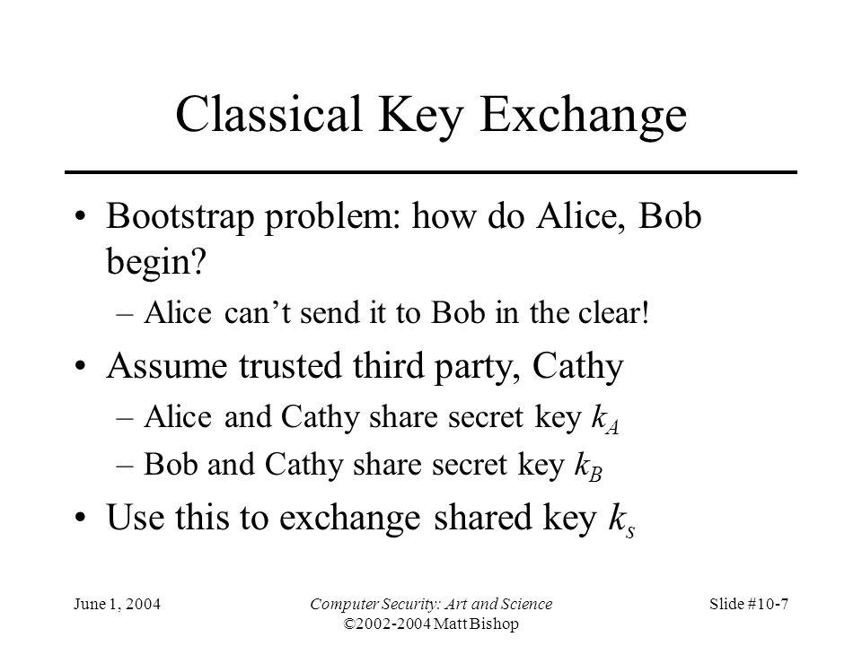 June 1, 2004Computer Security: Art and Science ©2002-2004 Matt Bishop Slide #10-7 Classical Key Exchange Bootstrap problem: how do Alice, Bob begin? –