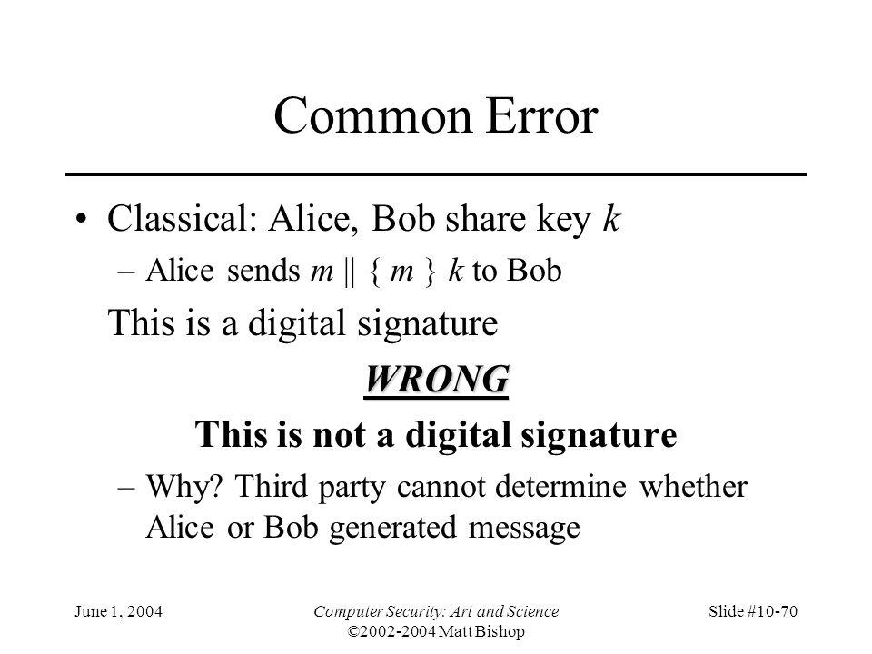 June 1, 2004Computer Security: Art and Science ©2002-2004 Matt Bishop Slide #10-70 Common Error Classical: Alice, Bob share key k –Alice sends m || {