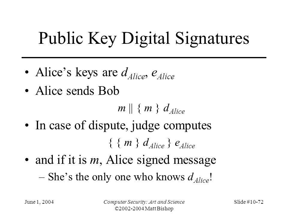 June 1, 2004Computer Security: Art and Science ©2002-2004 Matt Bishop Slide #10-72 Public Key Digital Signatures Alice's keys are d Alice, e Alice Ali