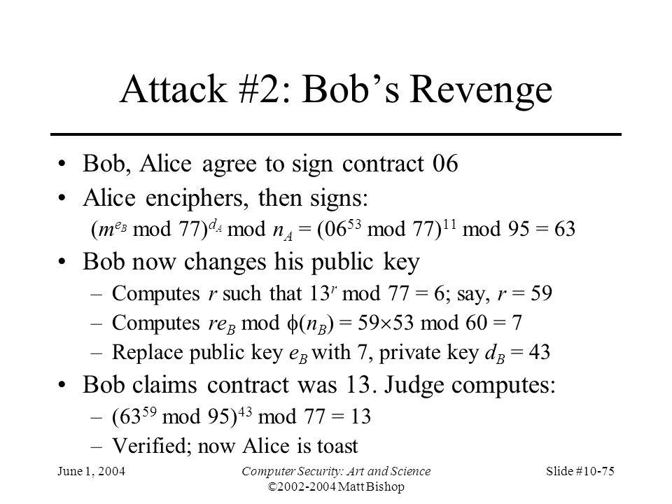 June 1, 2004Computer Security: Art and Science ©2002-2004 Matt Bishop Slide #10-75 Attack #2: Bob's Revenge Bob, Alice agree to sign contract 06 Alice