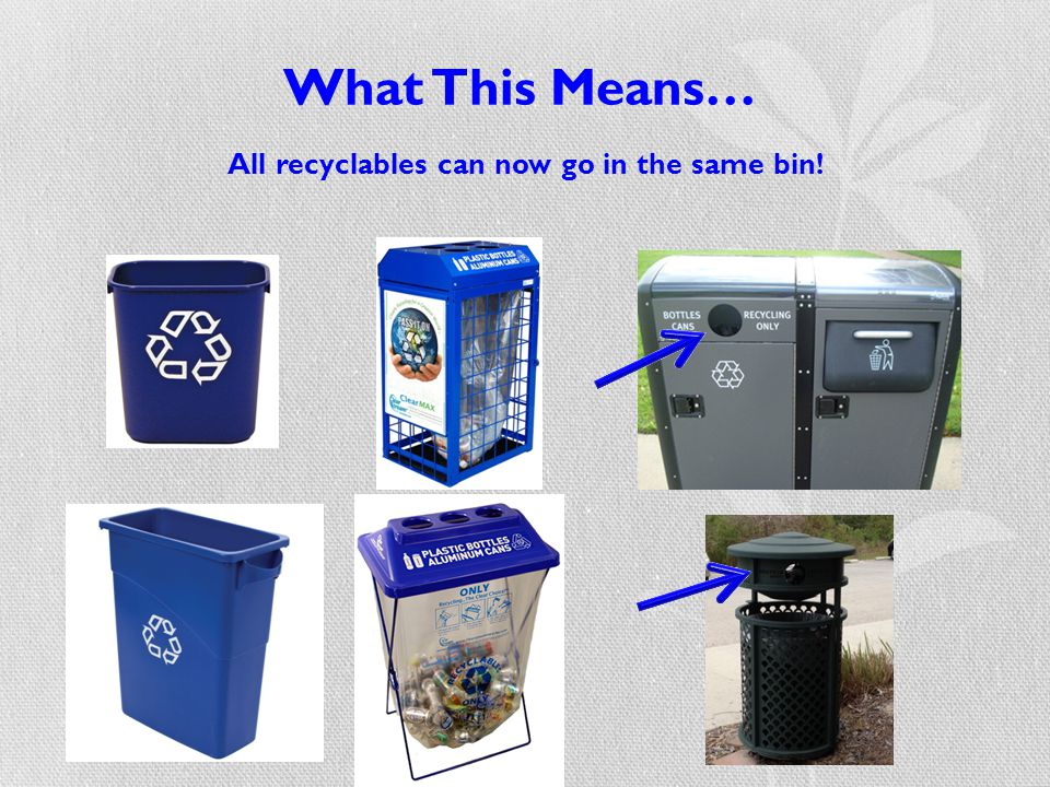What This Means… All recyclables can now go in the same bin!