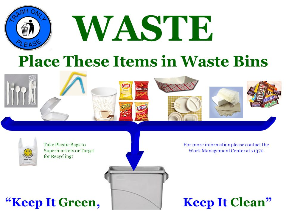Place These Items in Waste Bins Keep It Green, Keep It Clean Plastic Utensils, Napkins, Wrappers, Styrofoam Take Plastic Bags to Supermarkets or Target for Recycling.